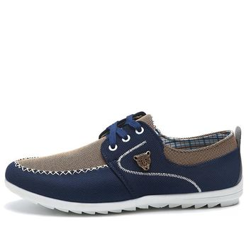 New Canvas Casual Men Shoes British Loafers Mens Masculino