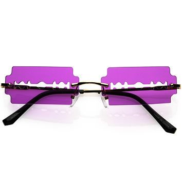 Razor Blade Rimless Design Cut-Out Metal Frame Square Sunglasses D079