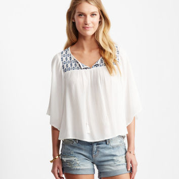 Embroidered V-Notch Peasant Top - Aeropostale