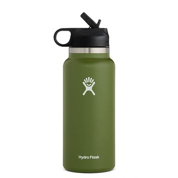 32 oz Wide Mouth with Straw Lid Hydro Flask - Olive