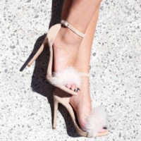 Women's Fashion Sexy Feather Open-Toed Fine High Heel Shoes