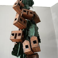 Paper House Mobile - Log Cabins and Pine Trees