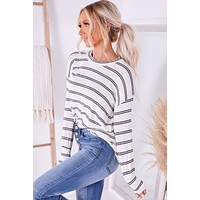 Read Between The Lines Striped Long Sleeve Top (Ivory)
