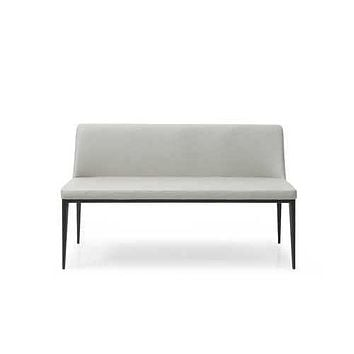 "51"" X 22"" X 30"" Light Grey Faux Leather Bench"