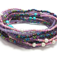 Seed bead wrap stretch bracelets, stacking, beaded, boho anklet, bohemian, stretchy stackable multi strand, purple pink silver turquoise