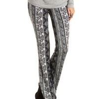 Black Multi Boho Print Knit Flare Pants by Charlotte Russe