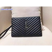 YSL hot seller of casual ladies' solid-color clutch bags with stylish twist line briefcases