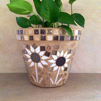Mosaic tiles planter, mosaic art flower pot, indoor planter, outdoor planter, kitchen plant pot, handmade garden pots, patio container