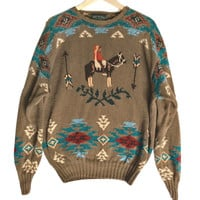 Vintage 90s Ralph Lauren Polo Country Indian / Native American Ugly Sweater