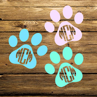 Animal Paw Decal | Monogrammed Animal Paw | Animal Lover Decal | Pet Name Decal | Animal Lover | Paw Decal | Car Decal | 231