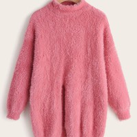 Solid Mock Neck Fluffy Sweater
