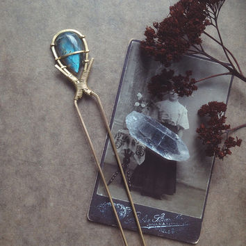 labradorite crystal hair stick | small • mystical crystal hair piece - brass metal hair stick - witchy hair jewelry - fairy accessories