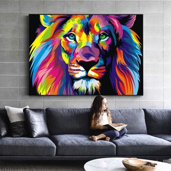 Watercolor Lion Wall Art Canvas Abstract Animals Lion Pop Graffiti Art Paintings On The Wall Cuadros Picture For Baby Room Decor
