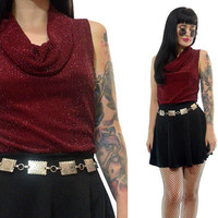 vintage 90s burgundy metallic cowl neck top slinky soft grunge red shirt stretchy top small