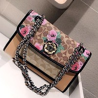 COACH Parker 2020 New Vintage Floral Print Women's Chain Bag Shoulder Bag Crossbody Bag