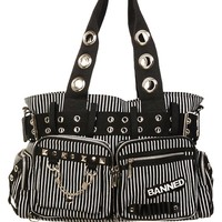 Banned UK Striped Punk Rock Steampunk Purse with Handcuff Skull Charm with skull keychain