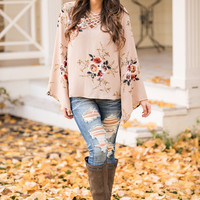 Garden Party Cage Front Bell Sleeve Floral Print Top (Taupe)