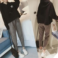 """""""Adidas"""" Women Casual Fashion Loose Show Thin Long Sleeve Hooded Sweater Trousers Set Two-Piece Sportswear"""