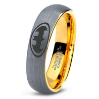 Batman Tungsten Wedding Band Ring Mens Womens Beveled Edge Brushed 18K Yellow Gold Fanatic Geek Anniversary Engagement