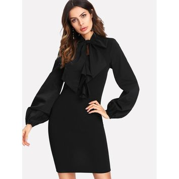 Tie Neck Lantern Sleeve Fitted Dress