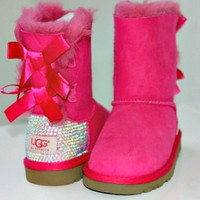 Toddler, Little Kid, and Youth UGG Bailey Bow Sheepskin Boots with Swarovski Crystal Embellishment - Winter/Holiday 2013