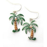 Palm Tree crystal earrings