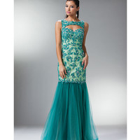 Teal Tulle & Lace Mermaid Gown 2015 Prom Dresses
