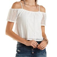 White Geo Crochet Cold Shoulder Crop Top by Charlotte Russe