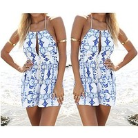 Printed stretch sleeveless jumpsuit AS107DD