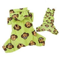 Silly Monkey Hooded Pajamas — Lime