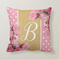 Pink Polkadot and Peonies Cushion | Zazzle.co.uk