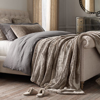 Oversized Luxe Faux Fur Bed Throw - Wolf