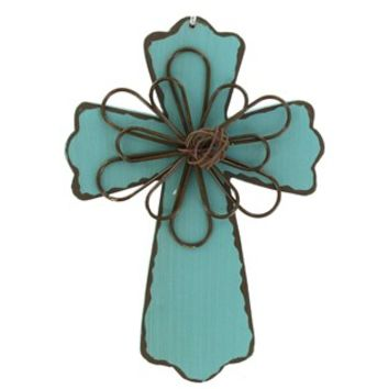 """6"""" Turquoise Wood Cross Plaque with Wire Interior 