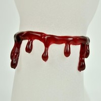 Red Blood Drip Bracelet FX Suicide Wristband Horror