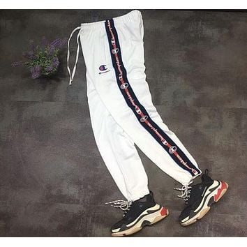 Champion side stitching color casual pants classic string logo print trousers F-AA-XDD white
