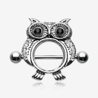 A Pair of Vintage Owl Sparkle Nipple Shield Ring