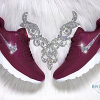 Swarovski Nike Shoes Bling Nike Air Max 90 Ultra Shoes Burgundy Maroon Customized with Swarovski® Rhinestone Crystals Authentic New In Box