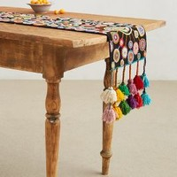 Turned Petals Table Runner by Anthropologie Black 62 X 12 Kitchen