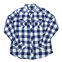 Vintage 90s Buffalo Check Pearl Snap Button Up Shirt in Blue/White Mens Size Medium