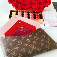 Inseva LV Hnadbag Louis Vuitton Makeup bag Three Piece Suit Print Coffee Red Internal Handbag Envelope Bag
