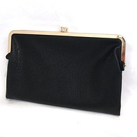 Sandra Double Clasp Clutch in Black
