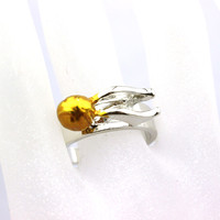 Size 7 Of The Harry Potter Quidditch Snitch  Plated Quality Men And Women Personality Cocktail Ring Finger ring