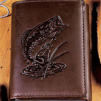 Genuine Leather Tri-Fold Wallet Embossed Bass Fish Design Outdoorsman