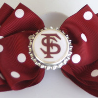 Florida State University Seminoles Inspired Garnet and White Polka Dot Hair Bow