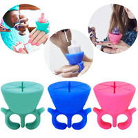 Creative Finger Wearable Nail Polish Holder Display Silicone Stand Useful Holder #M02156