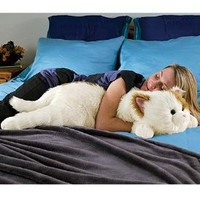 Super-Soft Cuddly Cat Body Pillow, in Black and White