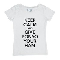 Keep Calm and Give Ponyo Your Ham-Unisex White T-Shirt