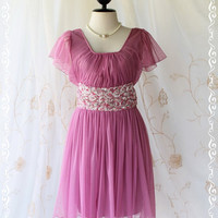 Honey Party - Sweet Gorgeous Party Cocktail Wedding Bridesmaid Dress Violet Pink Color Tutu Net Gauze Fabric With Floral Lace Embroidered S