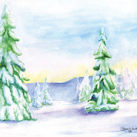 Snowy Trees Watercolor Christmas Note Cards set of 5