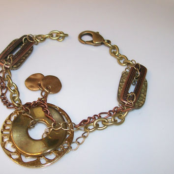 Layered Multi-Tone Bracelet, Gold, Copper, Steampunk, Chains, Charms, Discs, Layered, OOAK, Unique Jewelry, Artisan Bracelet